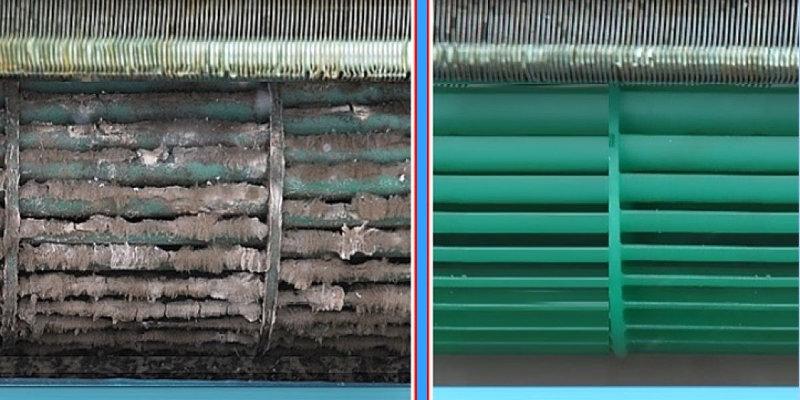 До и после чистки сплит-системы от пыли